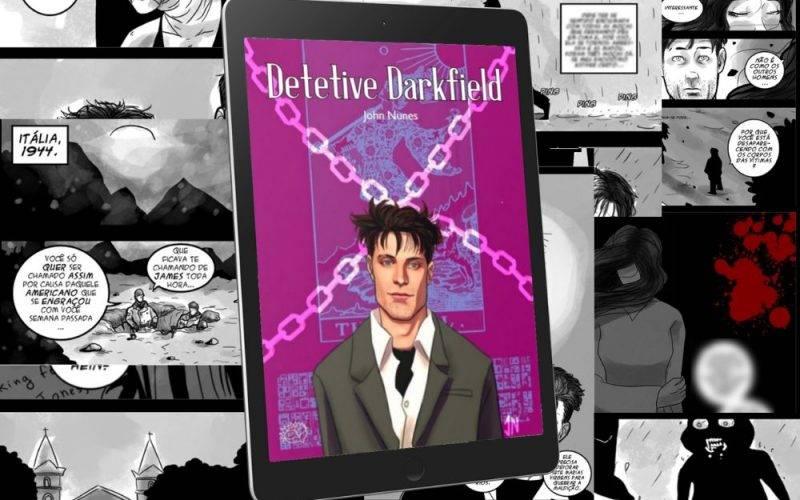 Em destaque está um tablet com a capa da HQ Detetive Darkfield. Ao fundo há uma montagem com várias páginas do quadrinho. Na capa, predomina a cor roxa e mostra o personagem Darkfield, um homem branco de cabelo preto bagunçado, veste um terno.