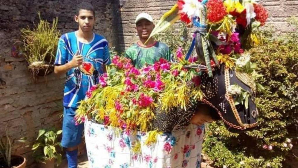 Um boi de Bumba meu boi todo enfeitado com flores cor de rosa. Há uma pessoa dentro do boneco do boi e há dois rapazes atrás posando para a foto. Essa foto é do Touro da Ilha um dos grupos de Bumba meu boi de Teresina.