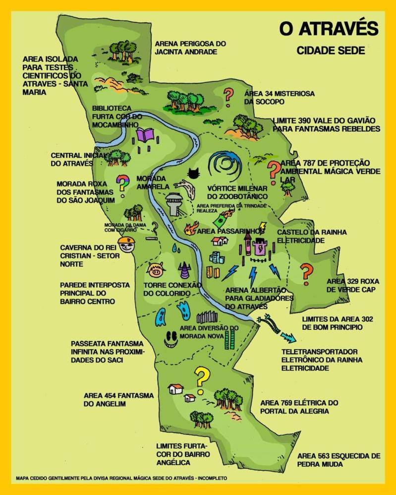 Mapa de Teresina adaptado ao universo do livro. Há várias localidades ficcionais.