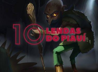 """Ilustração de uma figura humanoide curvada para frente e se apoiando em uma bengala rústica feita de madeira. A figura se assemelha a um senhor de idade, careca, barbudo e de orelhas pontudas, os pés dele são duas garrafas. Em destaque e centralizado está escrito """"10 lendas do Piauí"""""""